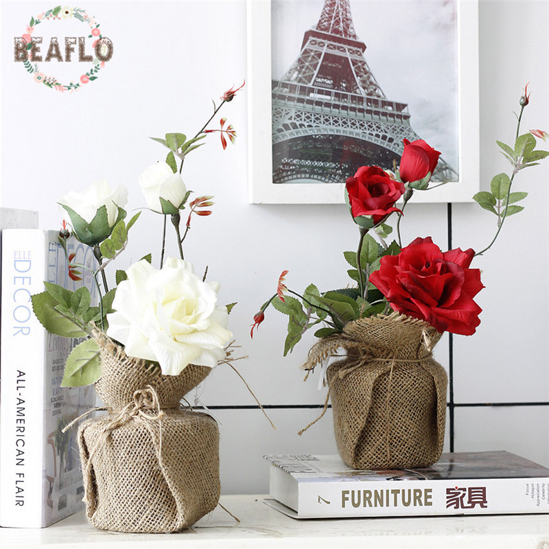 1PC 크리 에이 티브 인공 꽃 로즈 실크 꽃 화분 된 꽃 분재 웨딩 홈 파티 장식