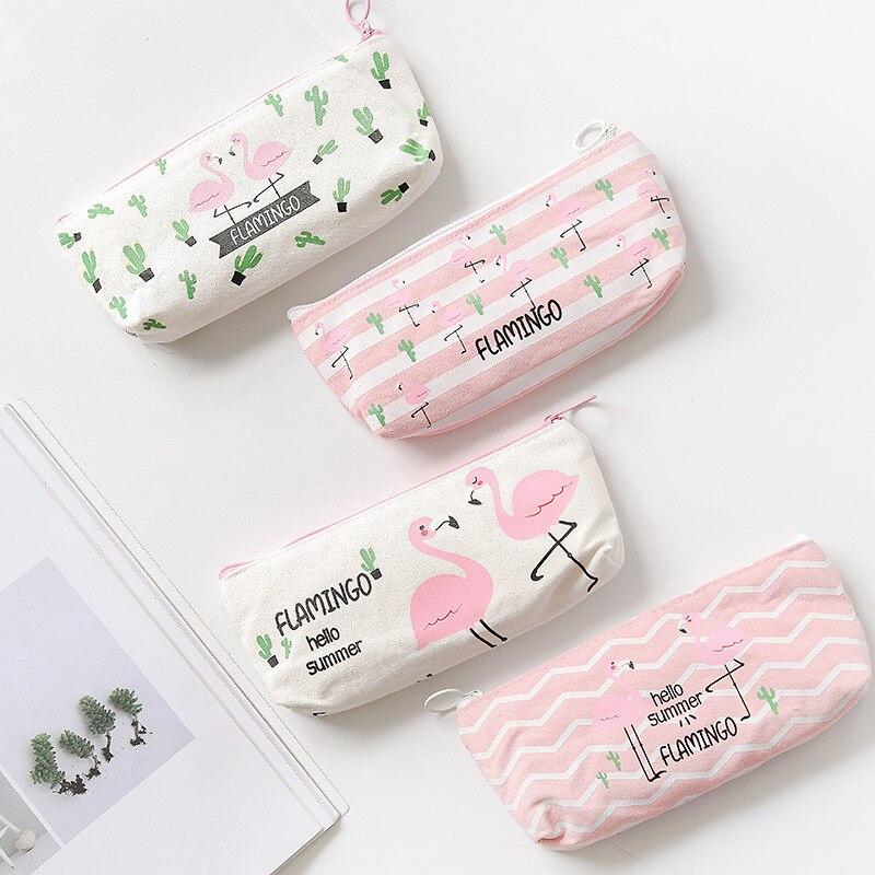 Cute Flamingo Pencil Case Kawaii Cartoon Gift Pen Box School Pencil Case Learn Office Stationery Supplies