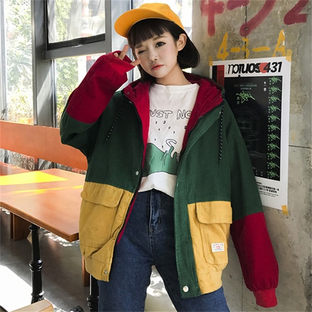 6ba84f5bea1ca Spring and Autumn Women s Jacket Color Block Hooded Corduroy Jacket Zipper  Buttons Loose Coat Long Sleeve Casual Top