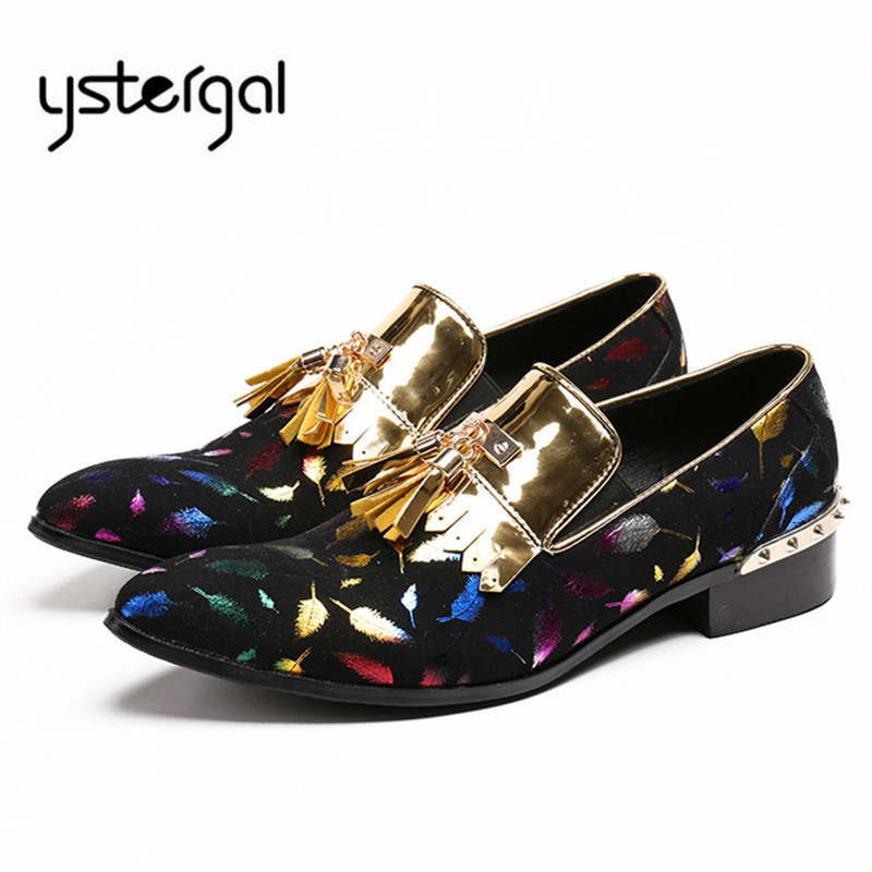 YSTERGAL Leaves Print Men Casual Shoes Slip On Flat Shoes Fringed Mens Loafers Flats Zapatillas Hombre Tenis Masculino Adulto ystergal 2018 new fashion men sneakers casual flat shoes men lace up creepers mens flats tenis masculino adulto chaussure homme
