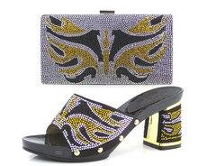 Italienische schuhe und taschen zu entsprechen, nigeria hausschuhe und geldbörse mit stein für party! schwarze farbe! ZA1-3