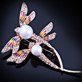 Contas shell Jóias simulado-pérola pintura FARLEENA libélula pinos broche broches moda para as mulheres