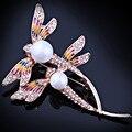 FARLEENA Ювелирные Изделия стеклянные бусы моделируется-жемчужина живопись стрекоза булавки брошь мода броши для женщин