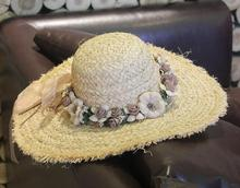 fashion round top straw sun hat summer hat flower ring decoration holiday vacation beach sun hat for women fashion female hat