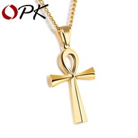 OPK Ankh Cross Pendant Men S Necklace Steel Black Gold Color Stainless Steel Smooth Design Blessing
