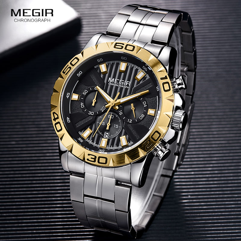 2019 New MEGIR Watch Men Chronograph Quartz Business Mens Watches Top Brand Luxury Waterproof Wrist Watch Reloj Hombre Saat 2087 in Quartz Watches from Watches