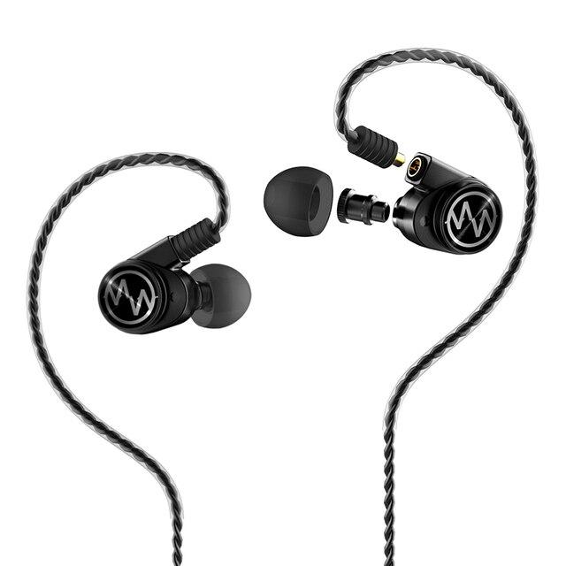 Amerika papağanı GT600S çift sürücü hibrid kulaklık DJ monitör profesyonel kulaklık gürültü iptal kulakiçi ayrılabilir Mmcx kablo