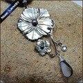 Collares Vintage Mão-cinzelado Flor Preta Pérola Natural Do Mar Shell Arte Escultura de Água Gems Beads Colar Pingente para As Mulheres BS088