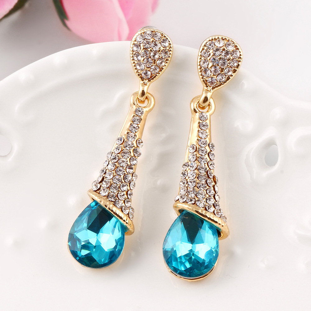 New Style Fashion Austria Crystal Earrings Gold Color Crystal Long ...