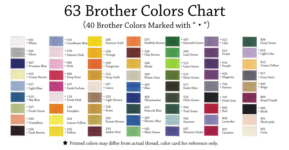 brothers embroidery thread color chart - Denmarimpulsar