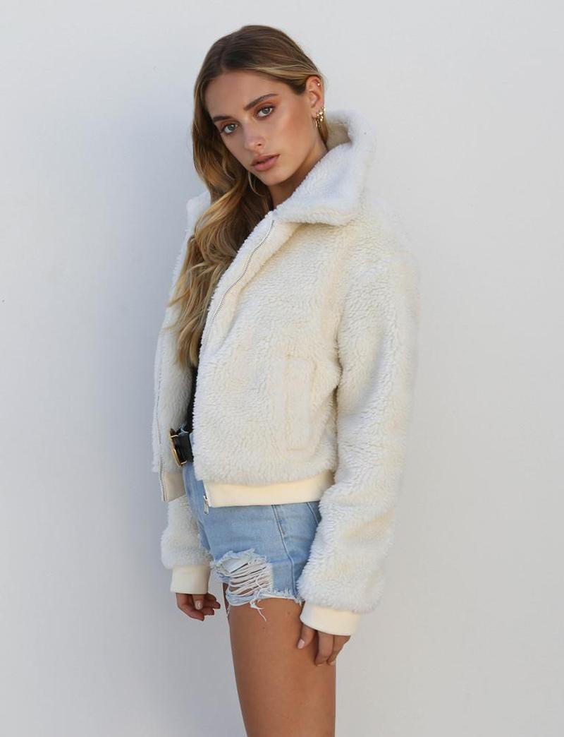 19 Winter arrival Women Cotton Fluffy Long Sleeve Jacket Ladies Warm Outerwear Cardigan Coat 10