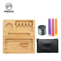 FIREDOG Smoking Rolling Tray Kit Bamboo Tobacco Grinder Herb Metal Hand 4 Parts 3x Paper Tube Tobacco Pouch