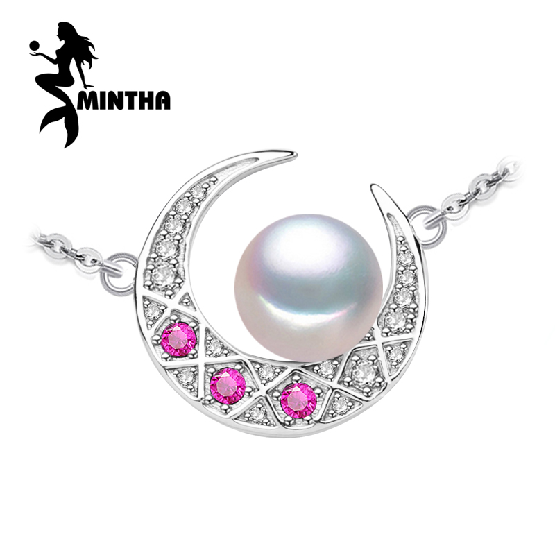 MINTHA ruby jewelry retro Pearl fine jewelry pendant necklace fashion moon necklace 925 Sterling Silver necklace for women girl tardoo golden moon pendant necklace 925 silver simple gold chain link crescent necklace women fine jewelry moon pendant necklace