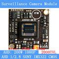 AHD 1080P 2000TVL 2MP board camera module cctv camera PCB, 1/2.8  SONY  IMX322 color camera plate, Low 0.001lux, 28 * 28mm