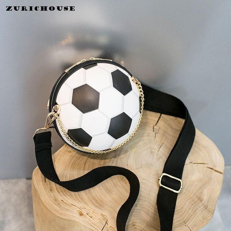 ZURICHOUSE Football forme sacs pour femmes chaîne Meassenger sac sacs à main femmes sac rond créatif drôle Balsa Feminina