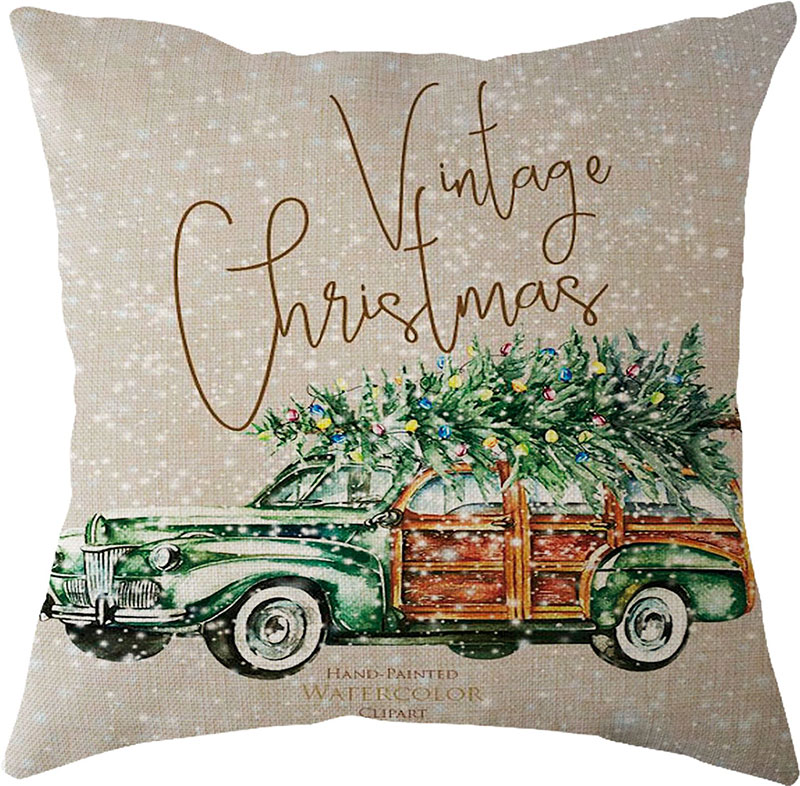 2019 New Year Christmas Decorations for Home Natal Merry Christmas Tree on The Car Linen Cushion Pillowcase 45x45cm Wholesale (2)