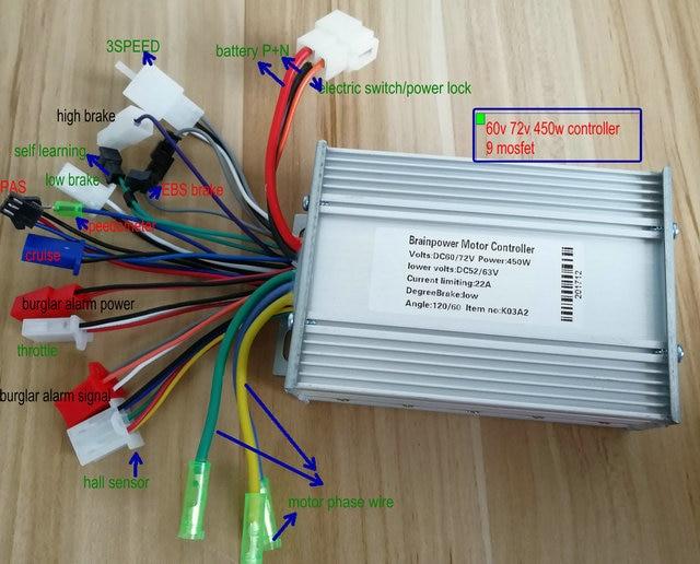 24v36v48v60v72v 400w450w BLDC motor controller 9mosfet dual mode ...