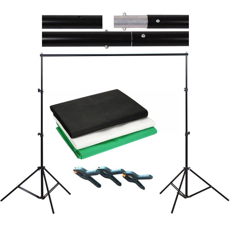 Photo Studio 3*2M Green Black White Muslin Backdrop Cotton Screen 2*2M Background Aluminum Frame Support for Image matting