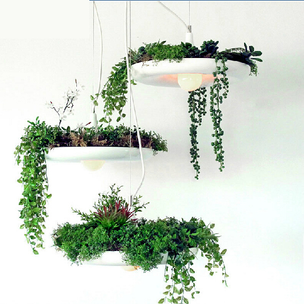 Aluminum Art cord cord pendant lamp flower pot pendant light aluminum Sky Garden Potted plants droplight for restaurants louis garden artificial flowers fake rose in picket fence pot pack small potted plant