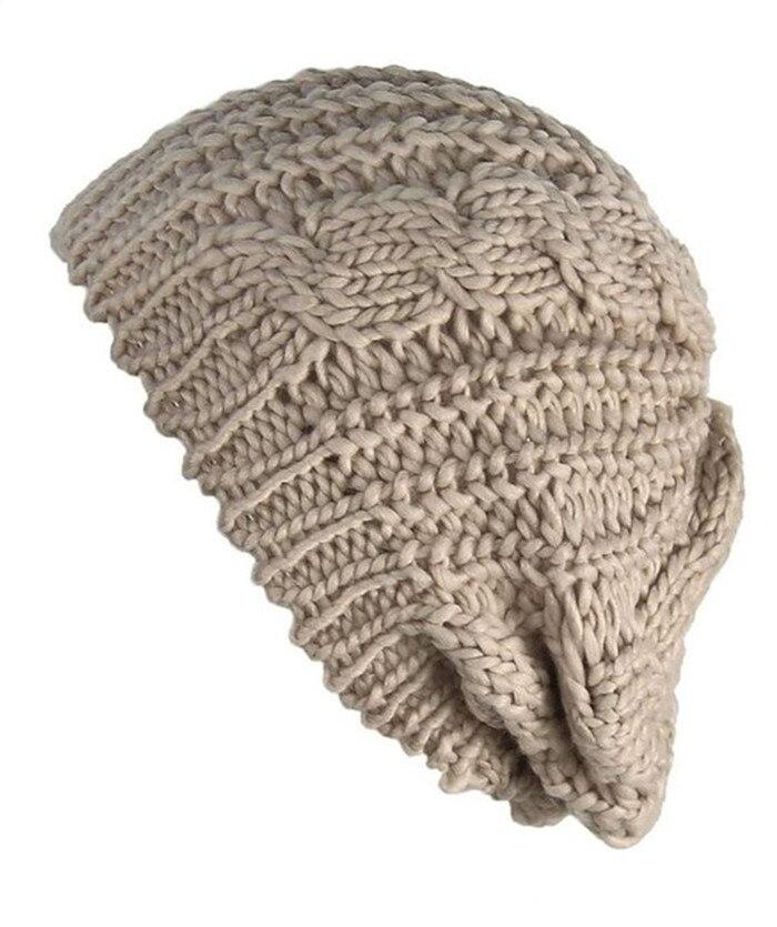 Модные женские зимние теплые кабель вязать крючком Лыжная шапка Плетеный Багги Берет шапочка Кепки