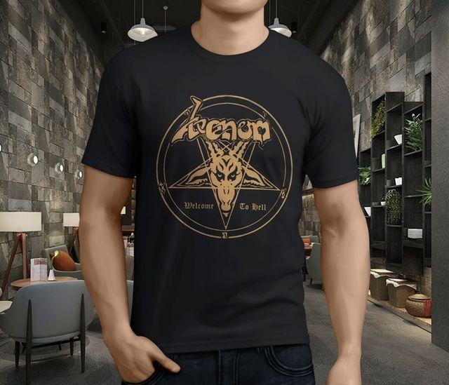 54801865e77c Gildan New VENOM Welcome to Hell Metal Rock Band Legend Men's Black T-Shirt  Classic Cotton Men Round Collar Short Sleeve