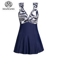 MiYang Women S One Piece High Waist Printing Swim Dress Padded Swimwear