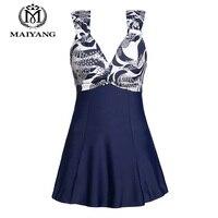 MiYang Women S One Piece High Waist Printing Swim Dress Padded Swimwear