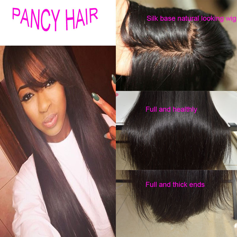 Silk Base Wig font b Brazilian b font Glueless Silk Top Full Lace Wigs Natural Hairline