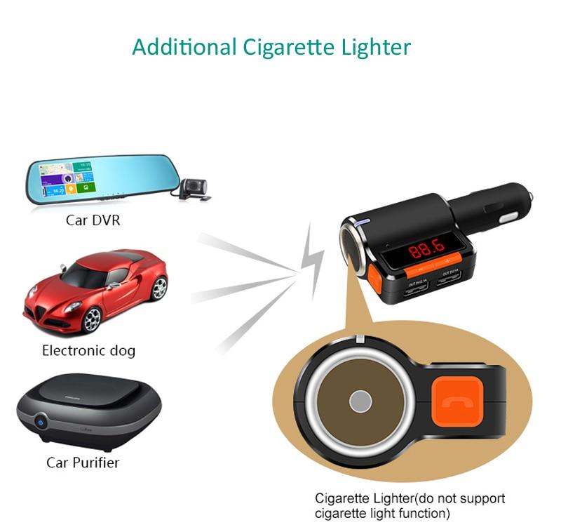 INGMAYA Bil Bluetooth-laddare 3.1A cigarettändare förlänga AUX - Reservdelar och tillbehör för mobiltelefoner - Foto 5