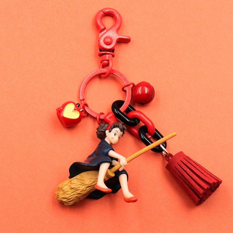 Japanese Hayao Miyazaki Cute Anime Kiki's Delivery Service Keychain Girl Kiki Figure Model PVC Doll Keyrings For Backpack Purse