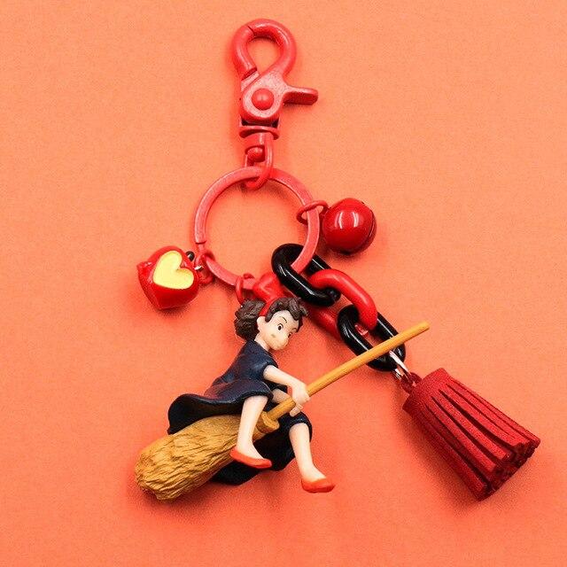 Serviço de Entrega de Kiki Hayao Miyazaki Anime Bonito Keychain japonês Menina Kiki Figura Modelo PVC Boneca Chaveiros para Bolsa Mochila