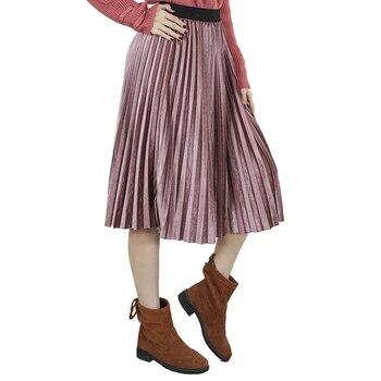 Autumn Winter Long Skirt Women Streetwear High Waisted Skinny Velvet Skirt Female Ladies Pleated Skirts Elegant Maxi Women Skirt 1