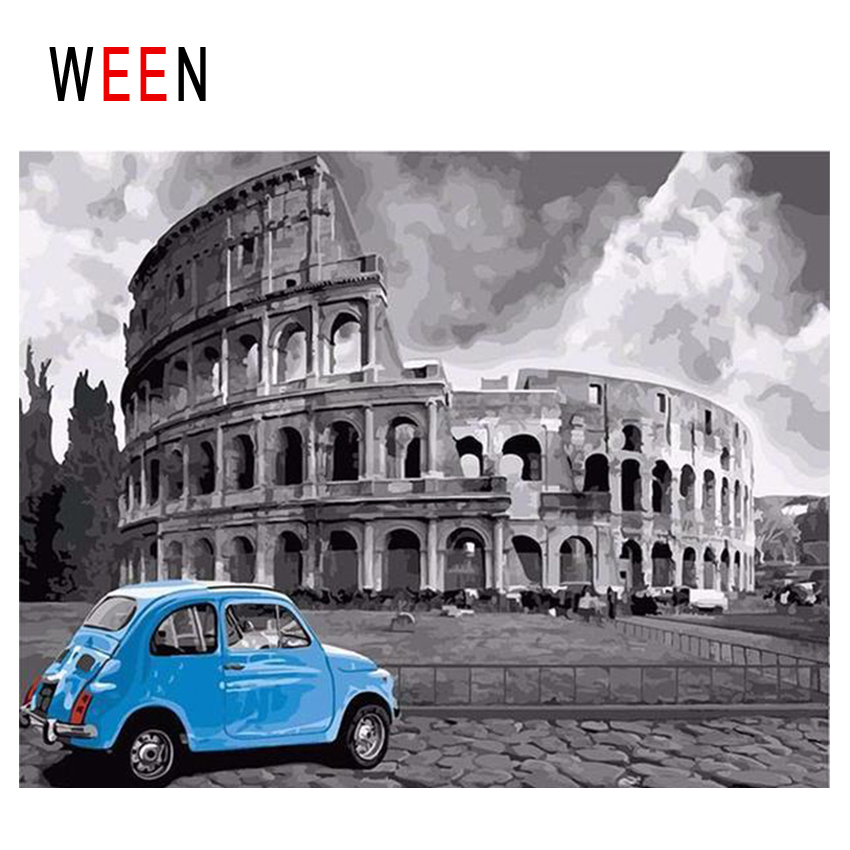 WEEN Arena Diy Painting By Numbers Abstract Car Travel Oil On Canvas Rome Cuadros Decoracion Acrylic Home Decor