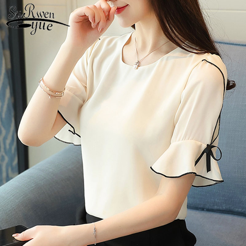 Women tops and   blouses   2019 bow short sleeve women chiffon   blouse     shirt   harajuku women's clothing ladies tops blusas D621 30
