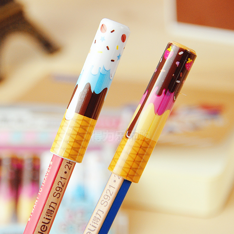 Deli 60pcs Kawaii Pencil Extender Lovely Ice Cream Pencil Grips for Kids Handwriting Tool School Stationery Items Pencil Caps