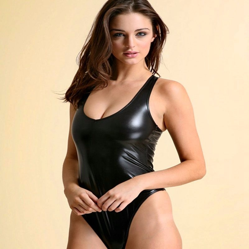 2018 Sexy Frauen PU Kunstleder High Cut Body Tanga Badeanzug Latex Body Badebekleidung Beachwear Badeanzug