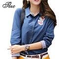 Tlzc senhora camisas casual orange/azul da cor da forma das mulheres blusa tamanho s-2xl mulheres tops turn down collar camisa feminina