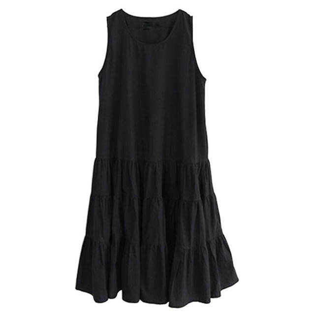 ff3cf966a1e4d Vestidos Büyük Boy M 7XL Robe 2018 Yaz Elbise Kızlar Kolsuz Tatlı Gevşek  Çalışma Tank Sundress Ruffles Elbiseler Kadınlar