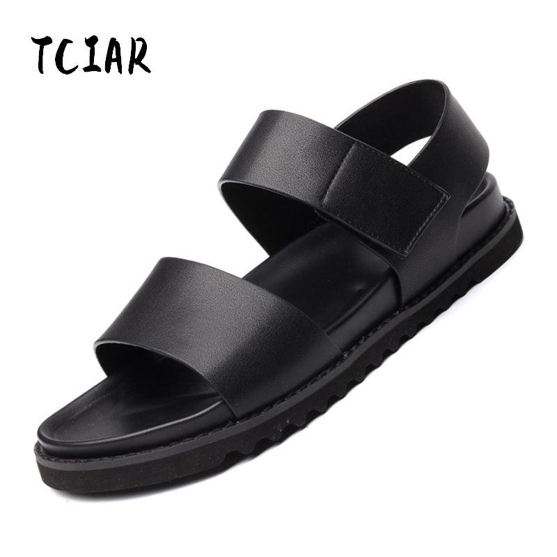 2018 Mens Summer New Solid Black Split Leather Sandals Shoes Casual Breathable Comfortable Beach Shoes Outdoor Sandals DA016