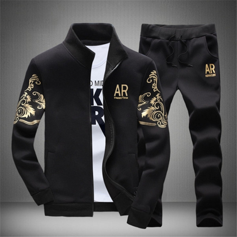 Autumn Sporting Track Suit Male Fitness Stand Collar Sweatshirts Jacket+Pants Sets Mens Tracksuit Outwear Hoodie Set 2 Pieces