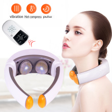 лучшая цена Electric Pulse Neck Massager Far Infrared electric heating acupuncture physiotherapy massage Health Care Pain Relief for neck