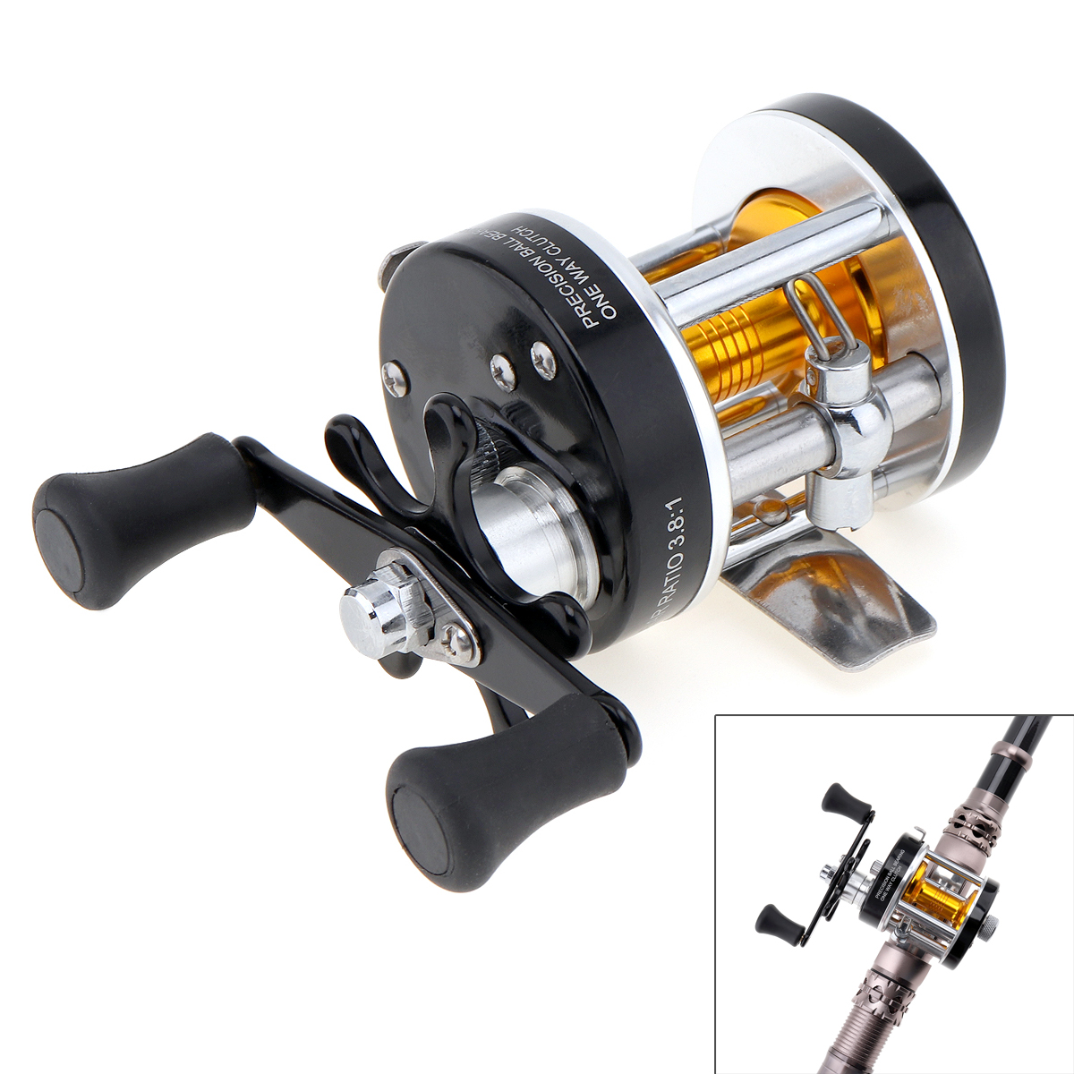 Metal Drum Fishing Reel Gear Ratio 3.8:1 Right Hand Trolling Reel Casting Sea Fishing Reel Saltwater Bait Casting Reel Coil