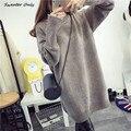 2016 новый горячий продажа женская осень зима длинный участок водолазка трикотажные свитера платья женщина свободные толстые пуловеры 4 цвета