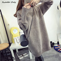 2016 new hot sale women's autumn winter long section turtleneck knit sweaters dresses woman loose thick pullovers 4 colors