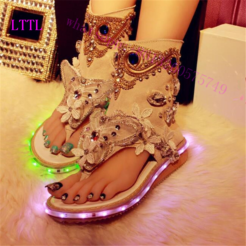 Gladiator spring Colorful LED Light Sandals Women Wedged shoes flat Heels HighDiamond zipper female  Crystal Sandals wedding