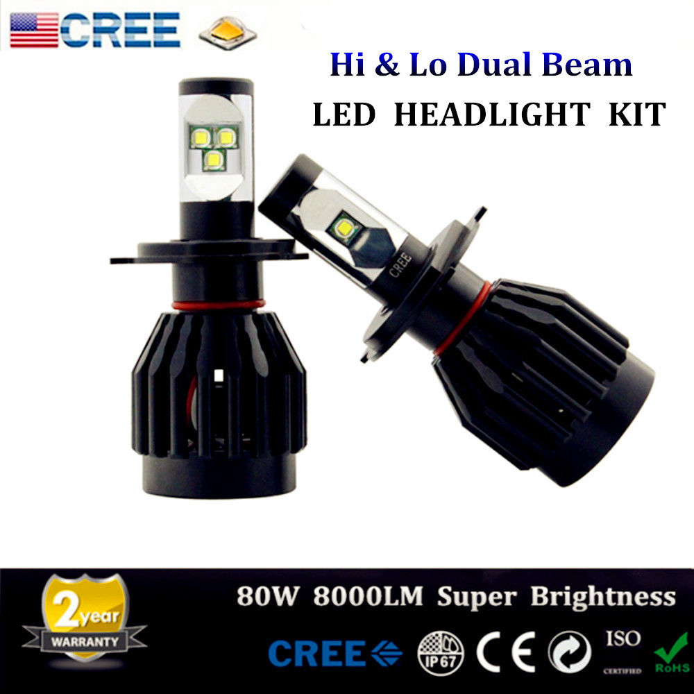ФОТО On Sales!2X H4 H/L 472 White 80W Cree Chips 9000Lms Car Auto Led Front Main Beam&Dipped Beam Headlight XENON White Canbus System