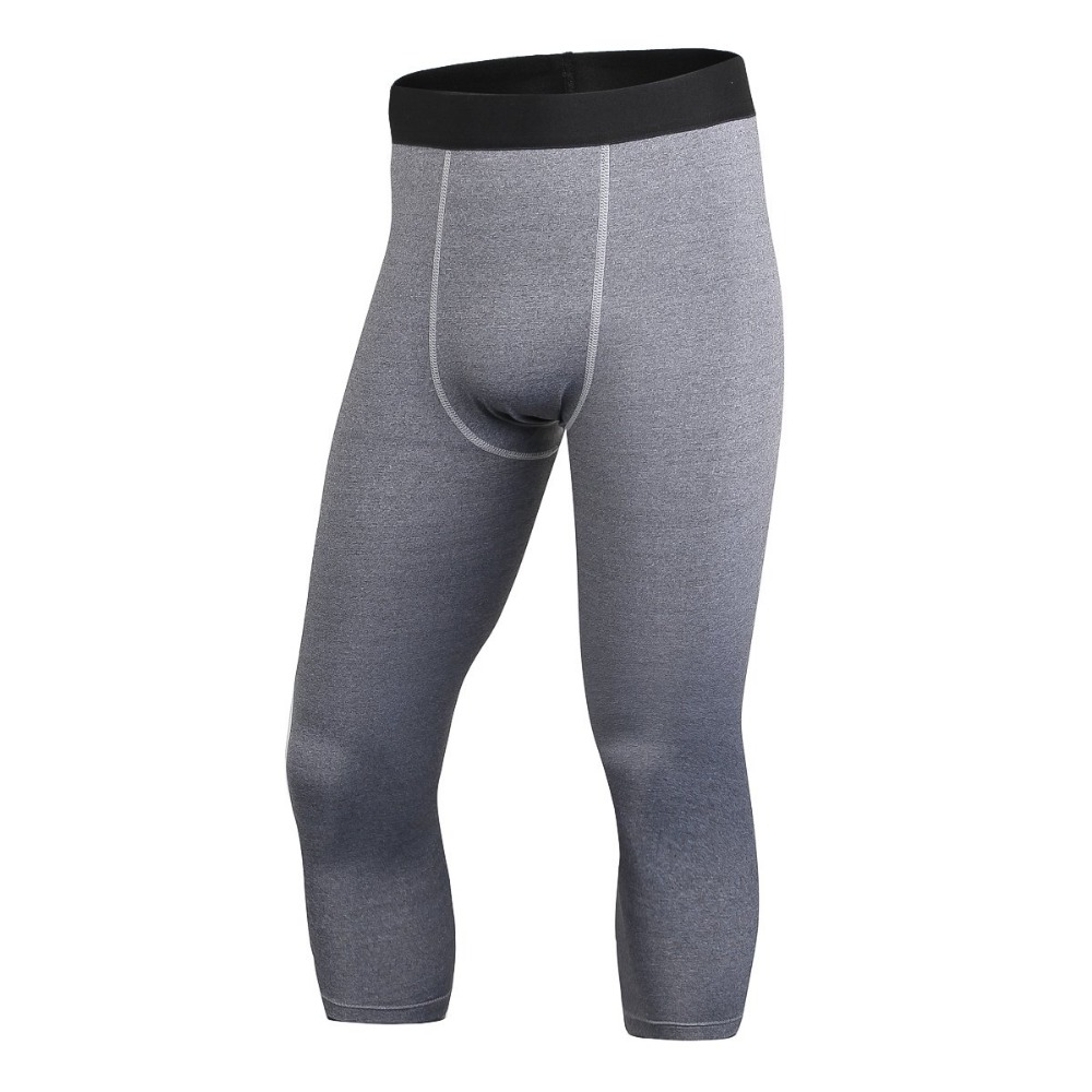 Men's High Elastic Calf-Length Compression Pants Casual Joggers Fitness Clothing Tights Leggings Bottoms