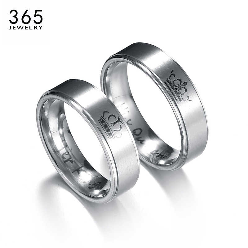 a413d76c7e6 2017 New Trendy Stainless Steel Crown Lover Rings Drawing Silver Color  Letter Wedding Couple Ring Engagement Gift