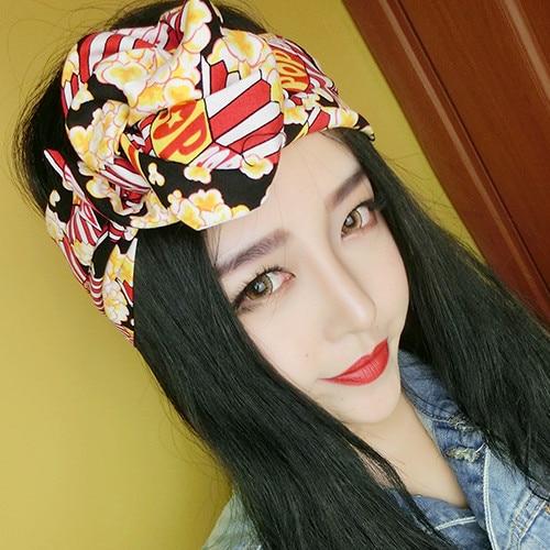 1950s women vintage rockabilly pin up style popcorn print headband