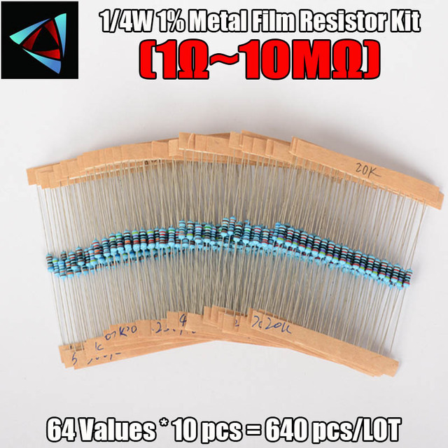 New Arrival 640Pcs 1R - 10MR 1/4w 1% Metal Film Resistors Kit 64 Values Assortment Pack Mix Low noise Resistor Set